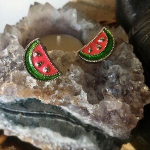 Vintage AVON acrylic watermelon stud earrings 🍉